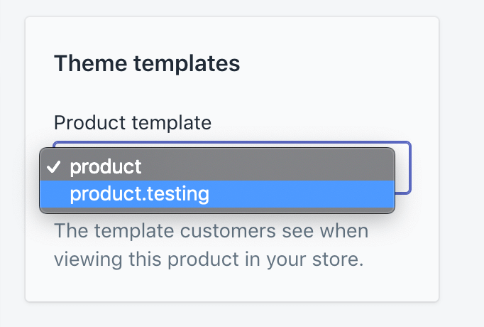 Setting your duplicate product template in Shopify.